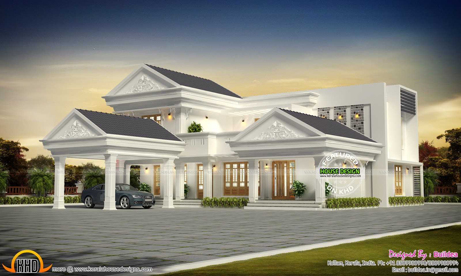 Modern kerala home design in 3000 sq ft kerala home for Home designs 3000 sq ft