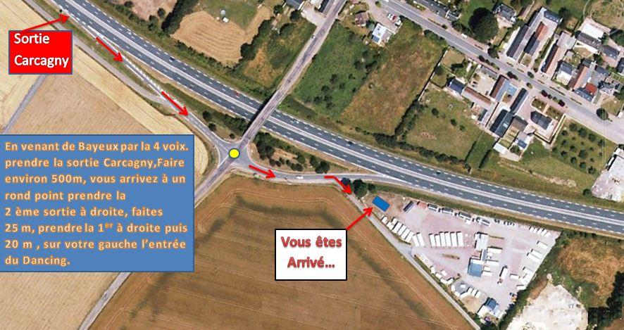 Plan d'accés au dancing de Carcagny en venant de Bayeux