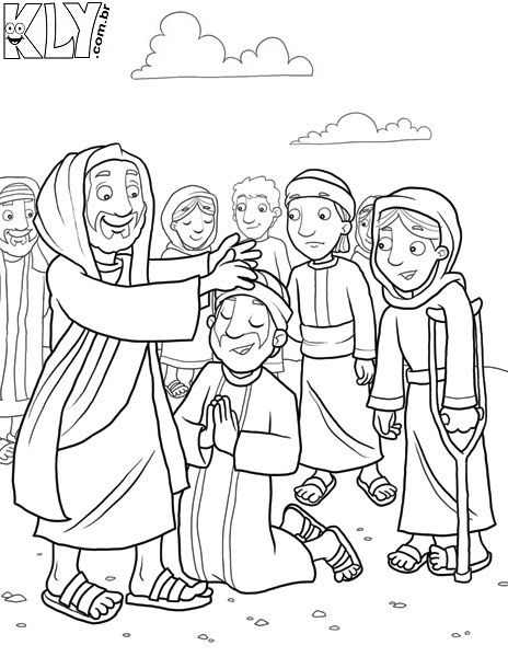 ten lepers coloring page - printable coloring pages jesus feeds 5000