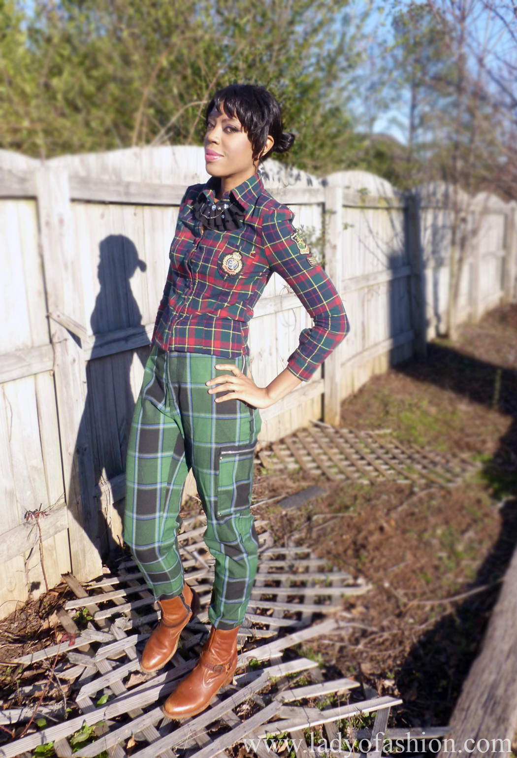 Plaid Tartan trousers Sammydress Model