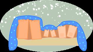 Pés do pai, filho e mãe sob a coberta e céu estrelado. Ilustrado por Angélica L. Azambuja. Todos os direitos reservados.