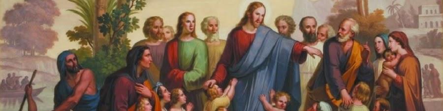 Jesus com discípulos mulheres e crianças