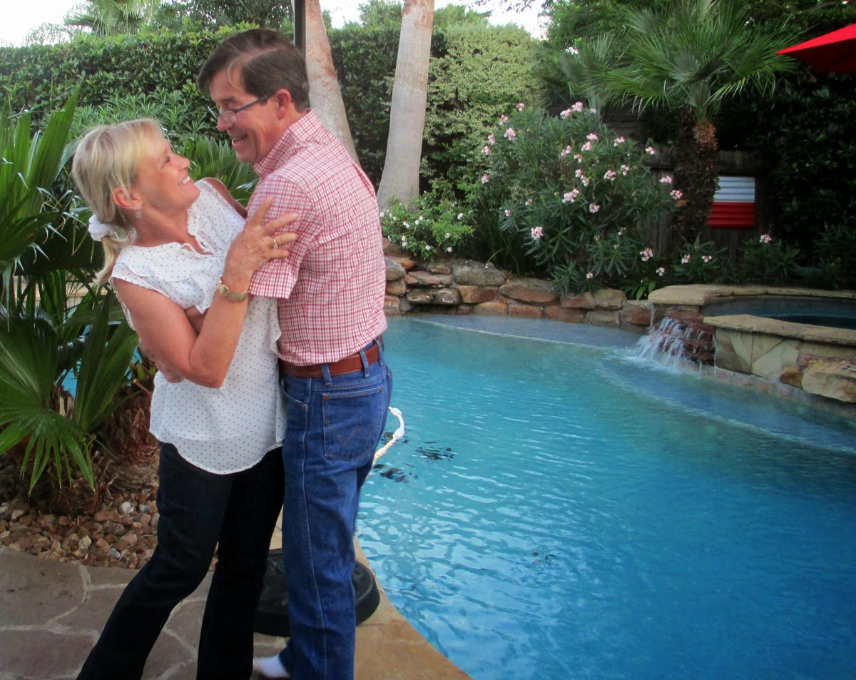 Joan and James having fun at their home pool - Patricia Stimac, A Heavenly Ceremony