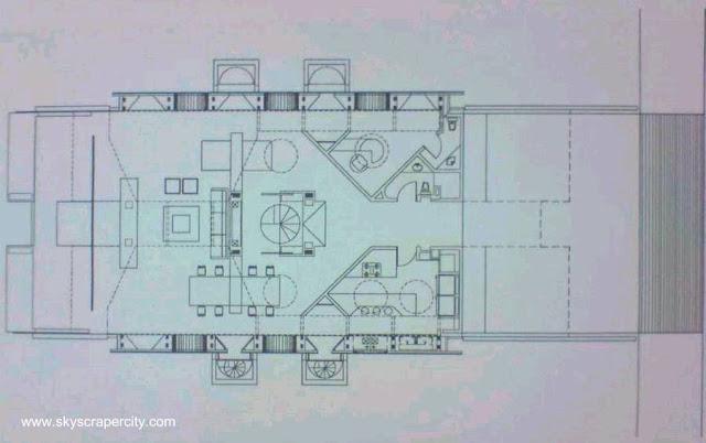 Plano de arquitectura, planta inferior de la Casa Volada en México