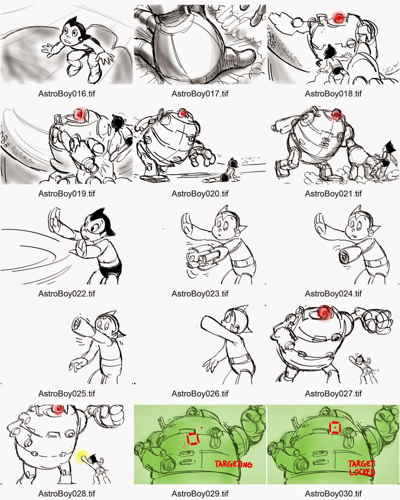 James Fujii Story Artist: AstroBoy Fights Zog Contact Sheets 1