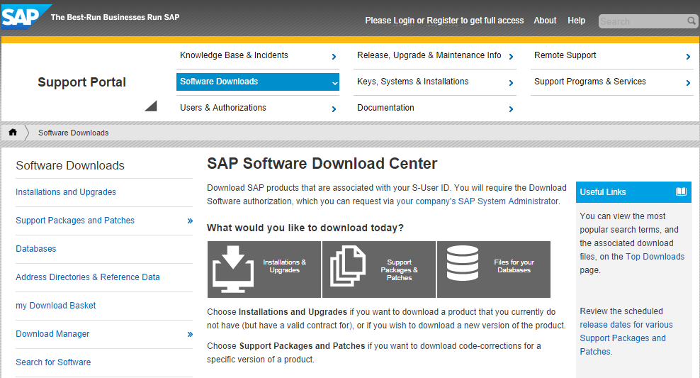 sap software download new page look