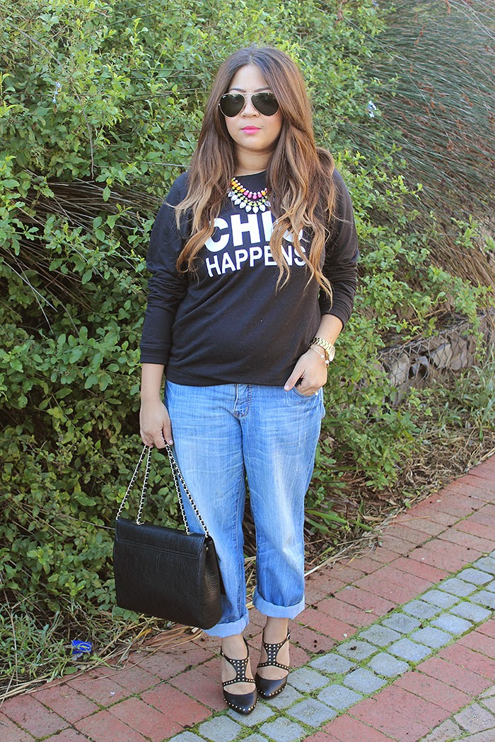 ombre hair, zara chain bag, mr price, ray ban aviators, mac impassioned lipstick, boyfriend jeans