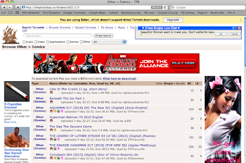 A screenshot of the Pirate Bay website with what appears to be an ad for a Marvel Comics game