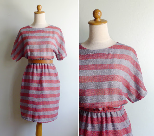 vintage grey & red striped dress