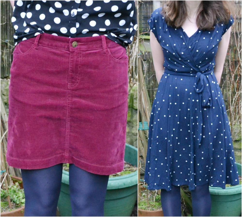 M&S cord skirt sale monsoon navy polka dot dress