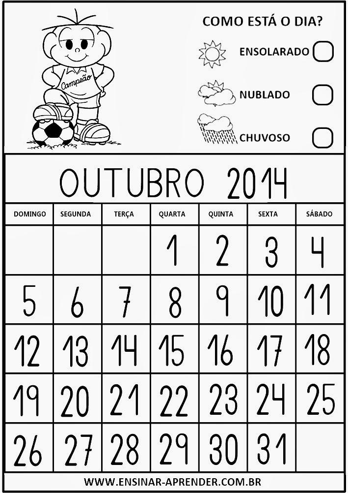 Calendário Educação Infantil Janeiro 2014 Turma da Mônica