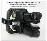 Horizontal Flash Mounting Bracket (HFMB Dbl Wide), Extension Bracket, Rigid Umbrella Riser, Spigot Mounting, Bottom Rear View