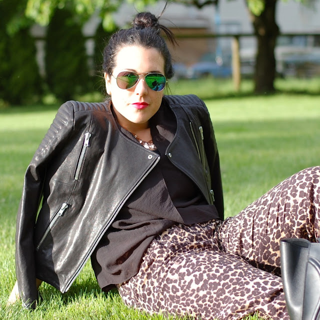 H&M New Icons leather jacket, leopard harem pants, Helmut Lang Lush Voile top, flash frame aviators and a Celine Mini Luggage Tote
