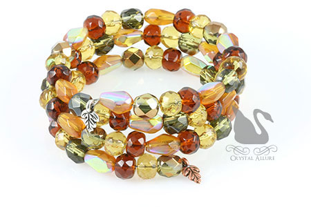 Autumn Splendor Czech Leaf Charm Cuff Beaded Bracelet (B121)
