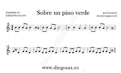 Sobre un pino verde partitura de flauta, violín, saxofón alto, trompeta, clarinete, soprano sax, tenor, oboe, corno inglés, trompa, fliscorno... en clave de Sol