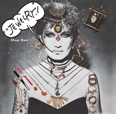 Betsy Johnson jewelry ad with handmade type