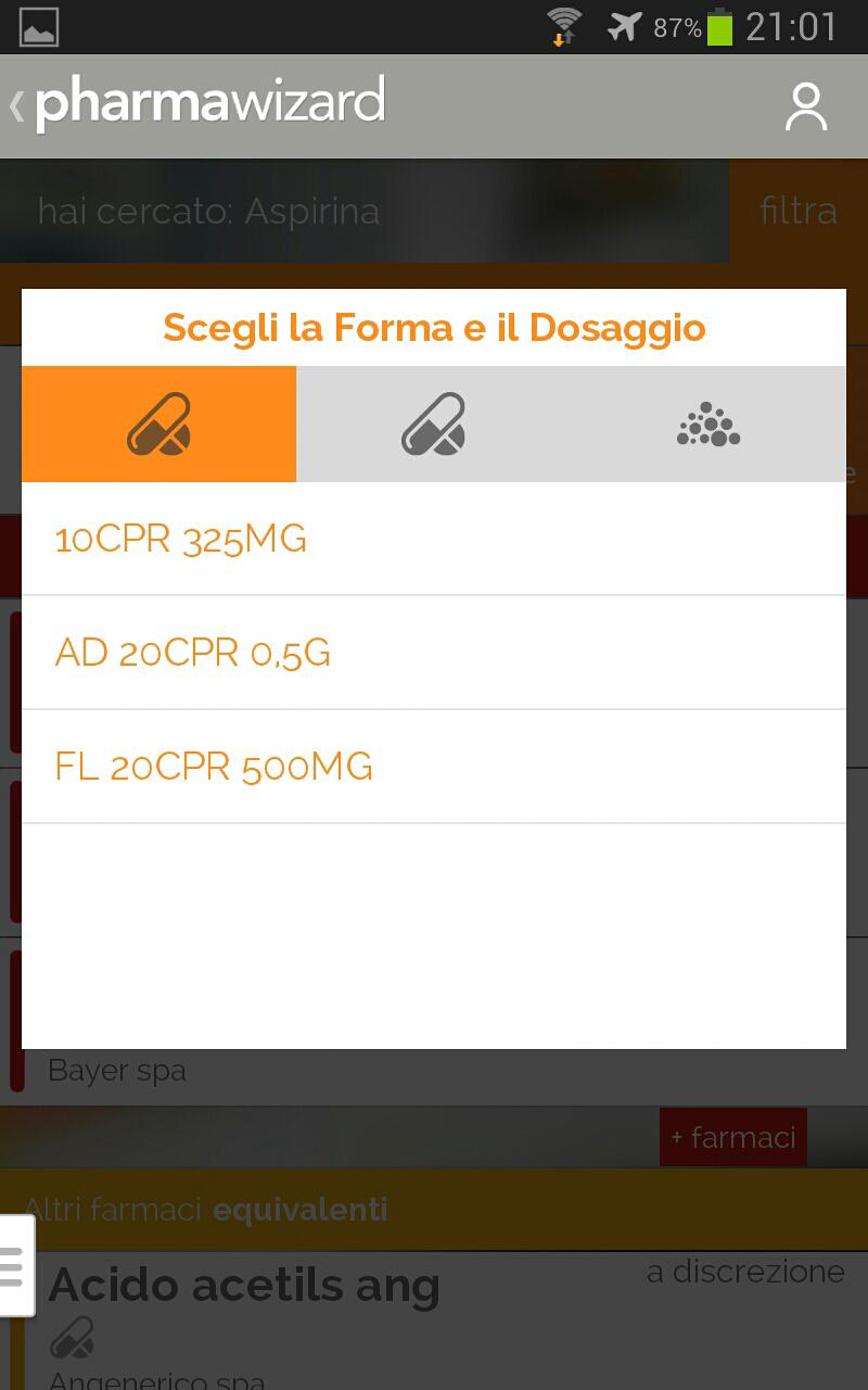 schermata di pharmawizard in cui sceliere aspetto e dosaggio di un determinato farmaco