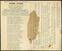 Bidprentje van Leopoldist Doom Henri (1843-1948)