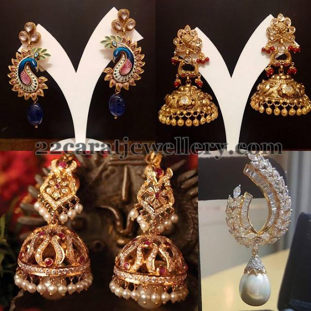 Enamel Work Pearls Jhumkas