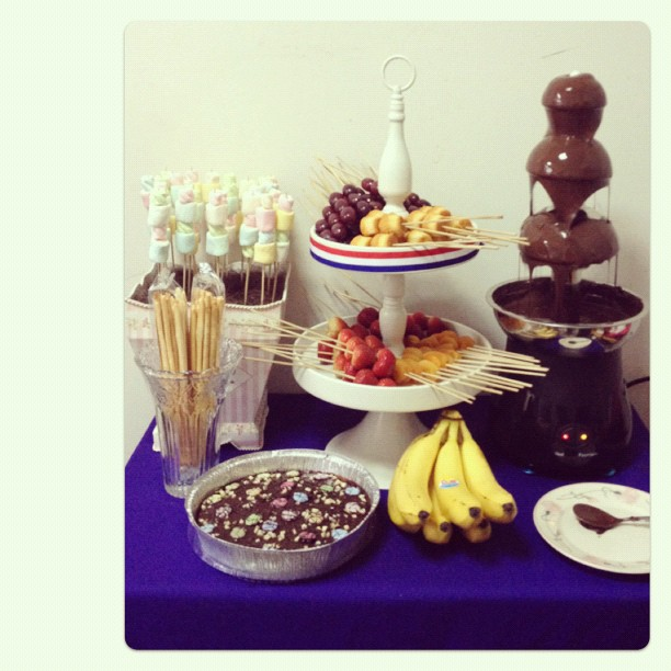 Enjoy our chocolate fountain with fruit u0026 marshmallow skewer setup! Email us at raztutera@yahoo.com for further inquiries. & Razzle Dazzle Party Box: Chocolate Fountain Machine Rental