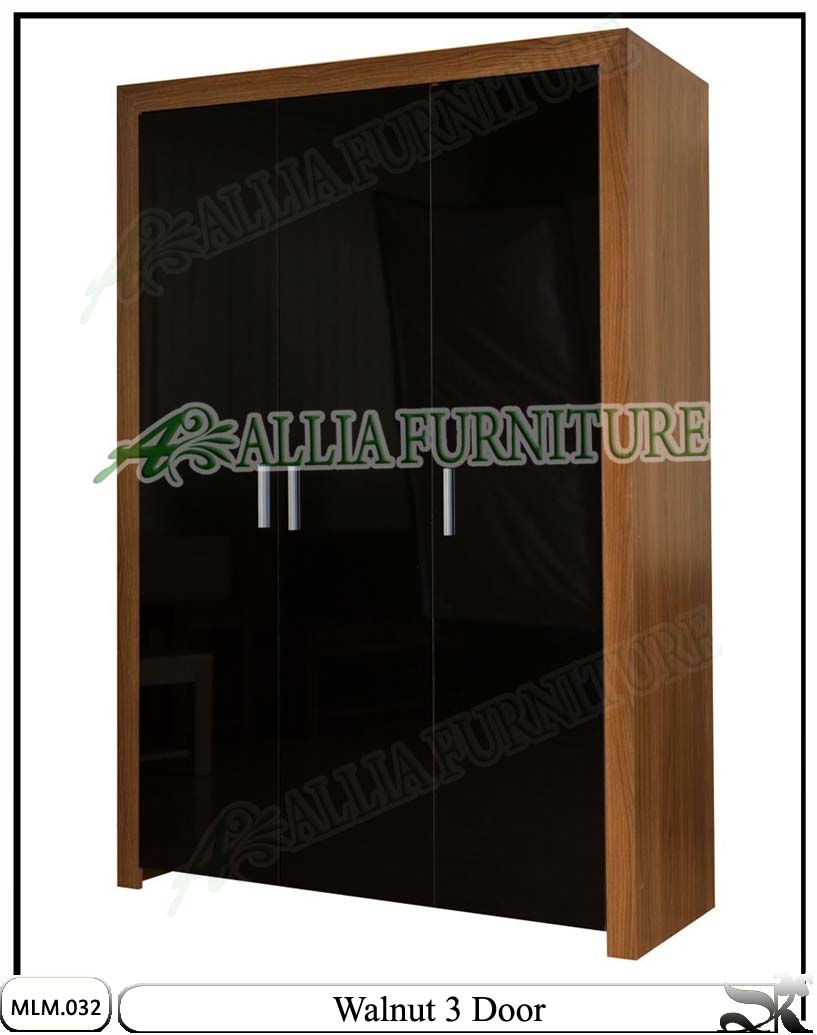 lemari minimalis modern 3 pintu walnut allia furniture
