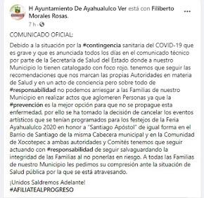GOBIERNO MUNICIPAL DE AYAHUALULCO CANCELA CELEBRACIÓN PATRONAL 2020