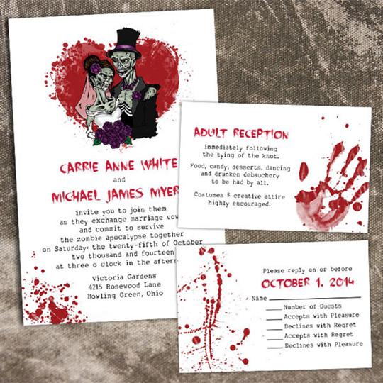 fall wedding invitations kits for halloween