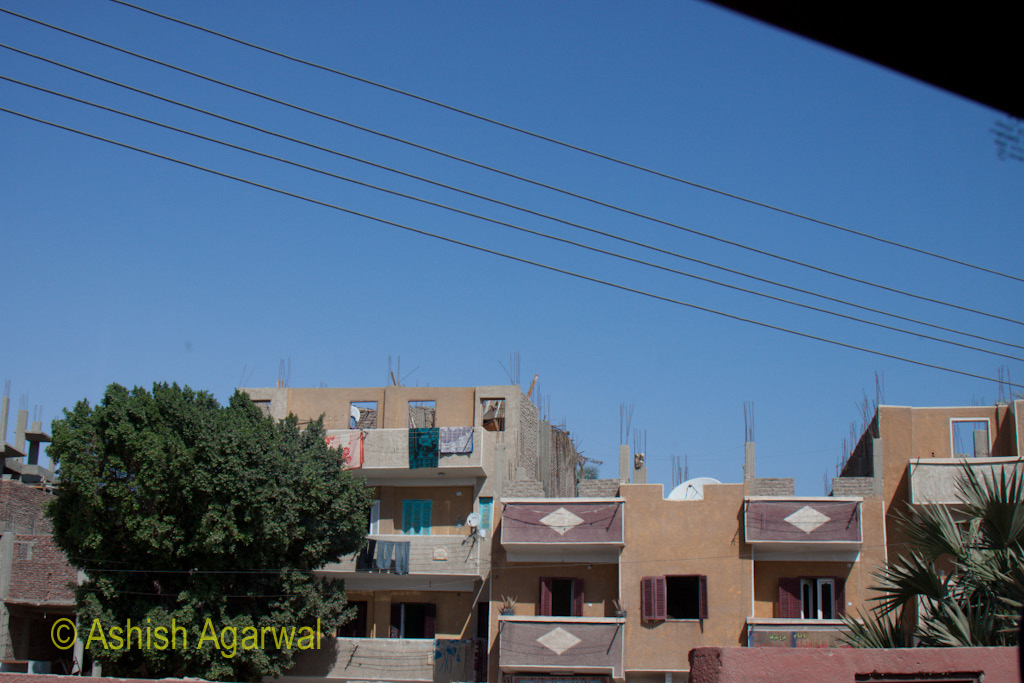 View of houses that all seem under construction in Cairo, the capital of Egypt