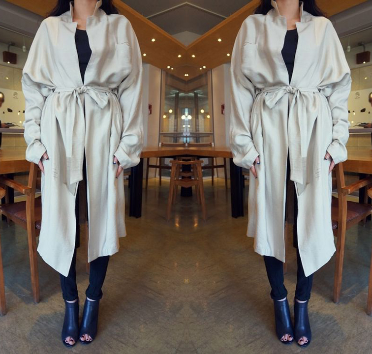 Oversized trench coat, leather peep toe booties, effortless french woman style