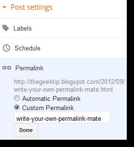Blogger Custom Permalink
