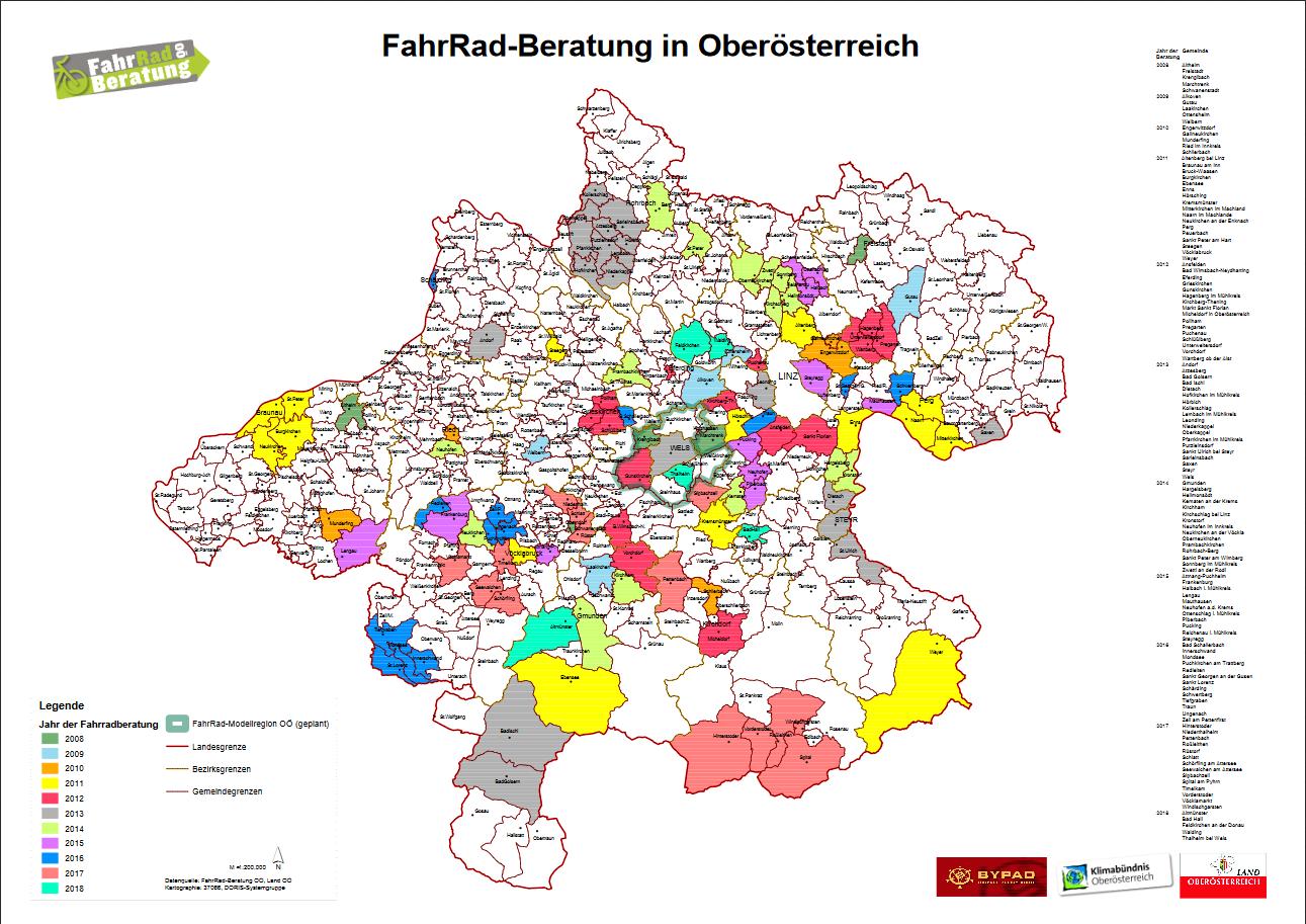 Karte FahradBeratung OÖ