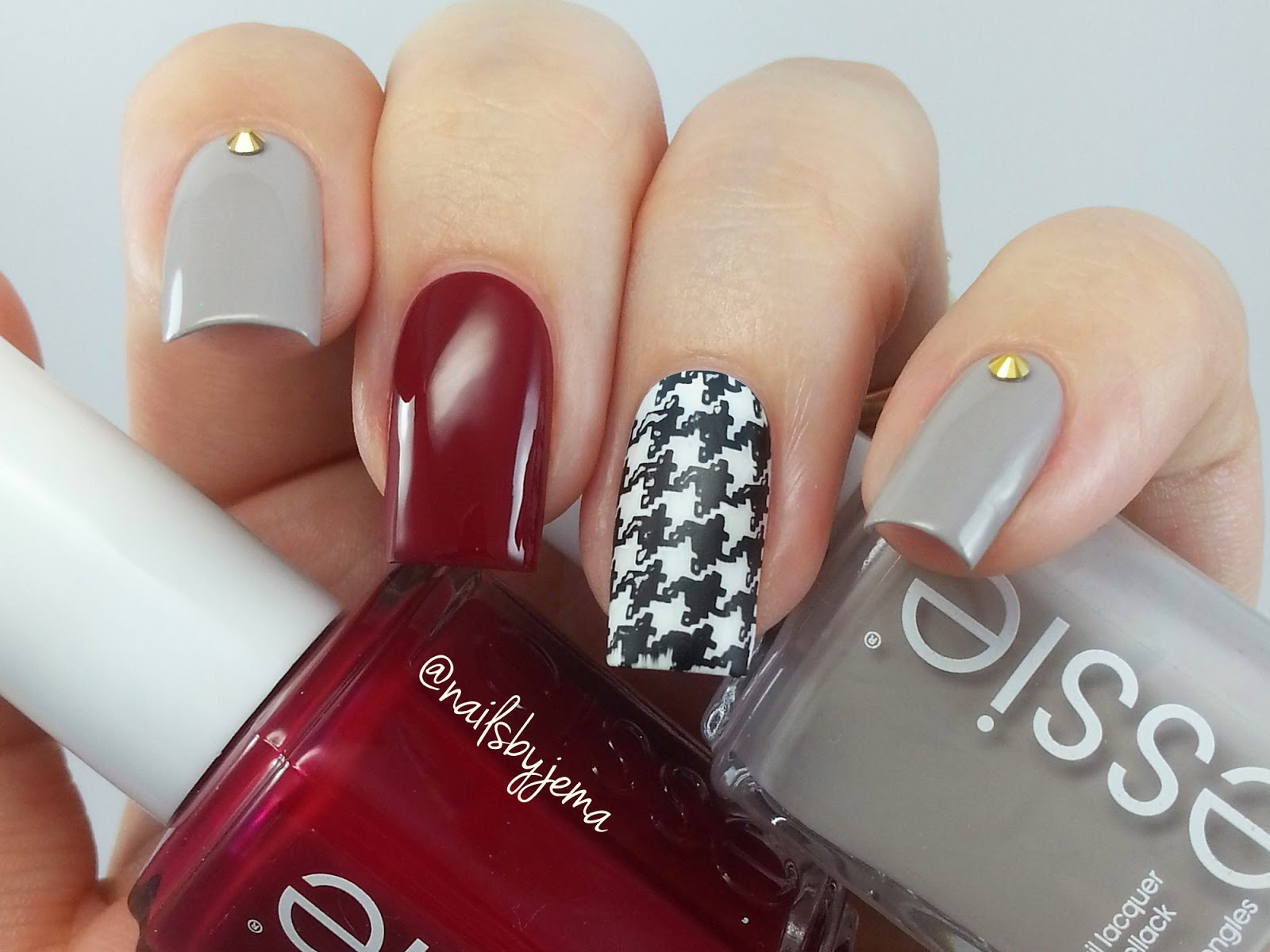 N A I L S B Y J E M A: Obsessed with Houndstooth and Essie Polish!