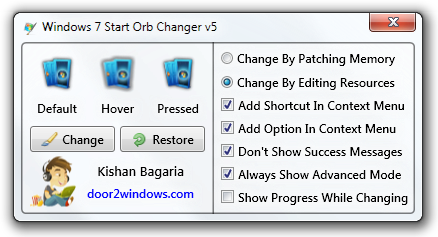 how to change start button in windows 7 without software