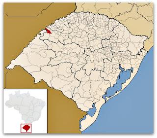 Município de São Nicolau, no mapa do Rio Grande do Sul