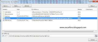 Calendario laboral en Excel.