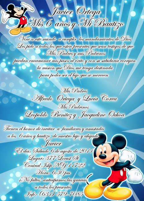 Artes DaVinci: INVITACION DE CUMPLEAÑOS Y BAUTIZO DE MICKEY MOUSE ...