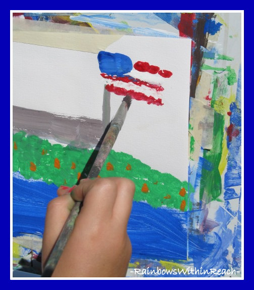 photo of: Child Painting the American Flag
