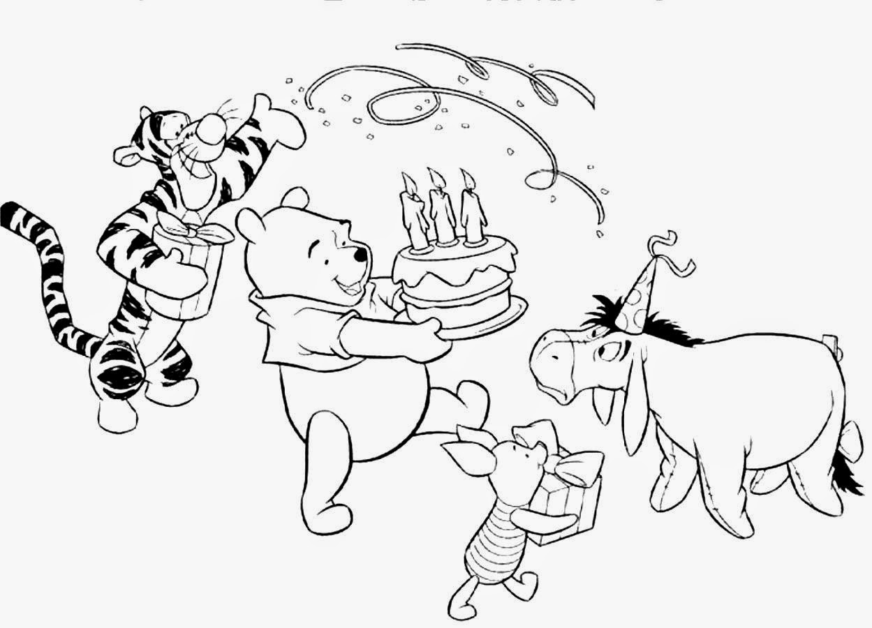 winnie the pooh birthday coloring pages - Pooh Bear Coloring Pages Birthday