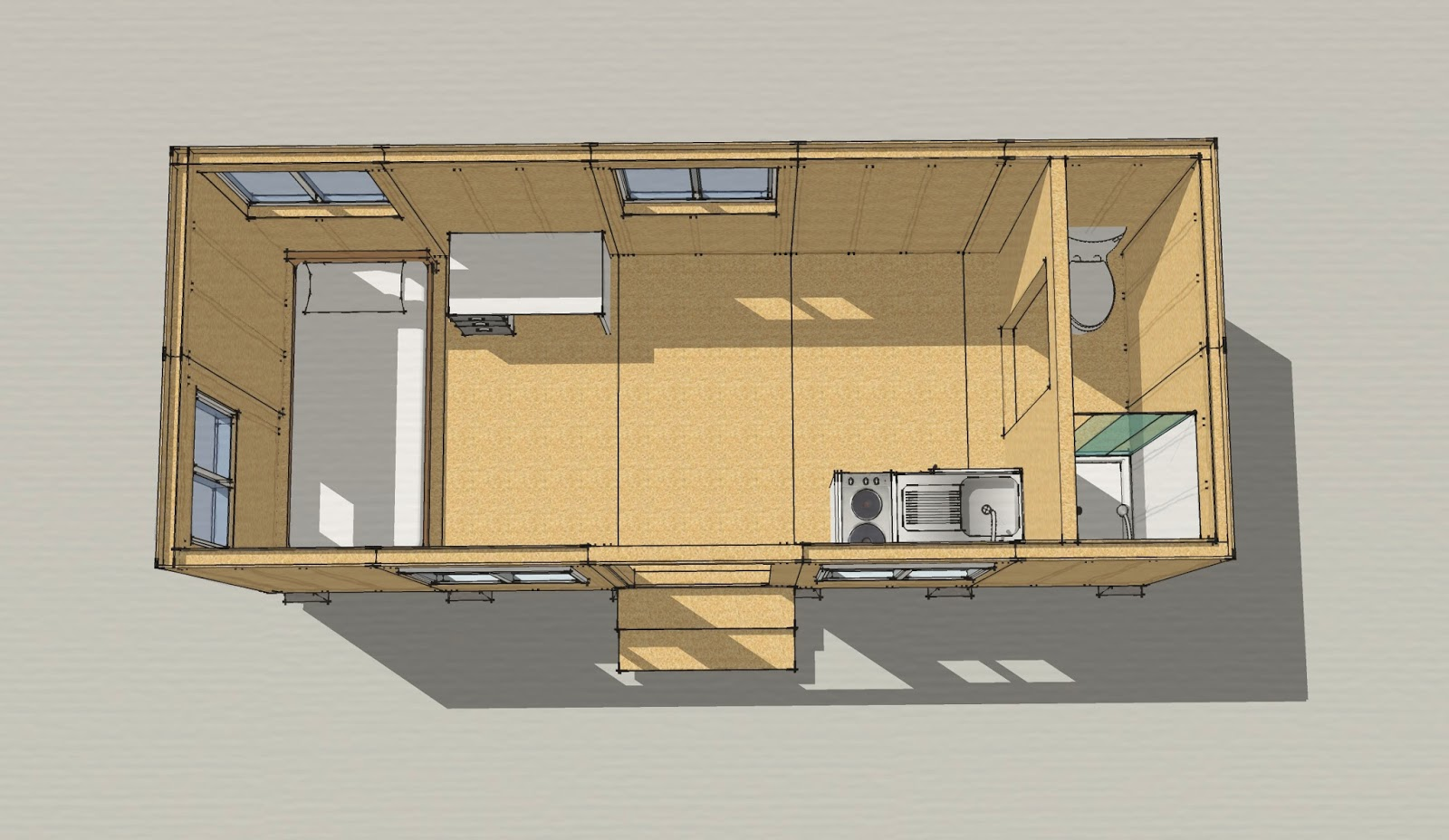 simple illustrative drawing of an 8x20 tiny house that meets the 2012 irc minimum area requirements - Tiny Dwellings