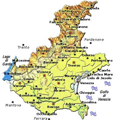 Cartina Politica della Veneto