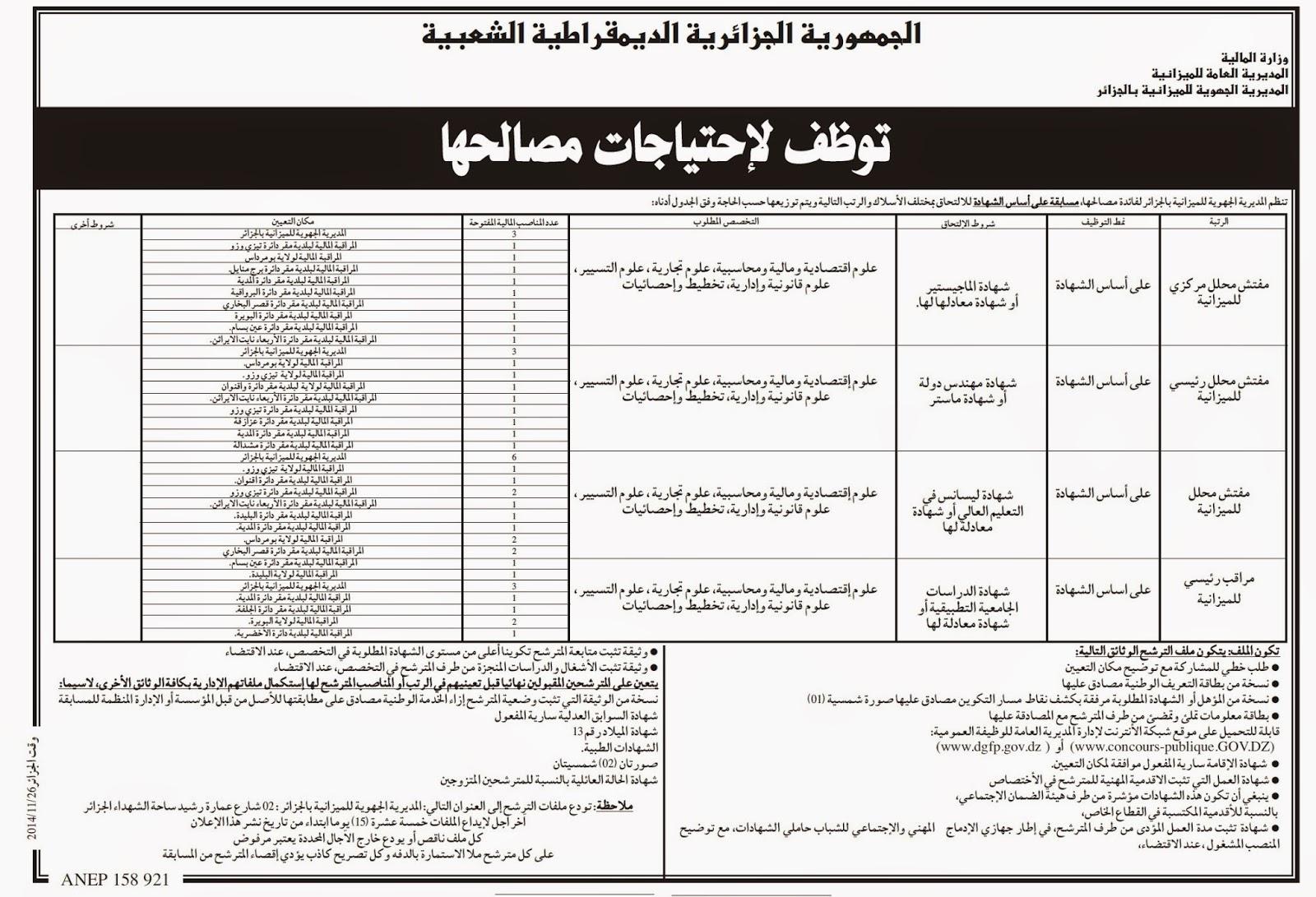 مسابقة توظيف بالمديرية الجهوية للميزانية الجزائر