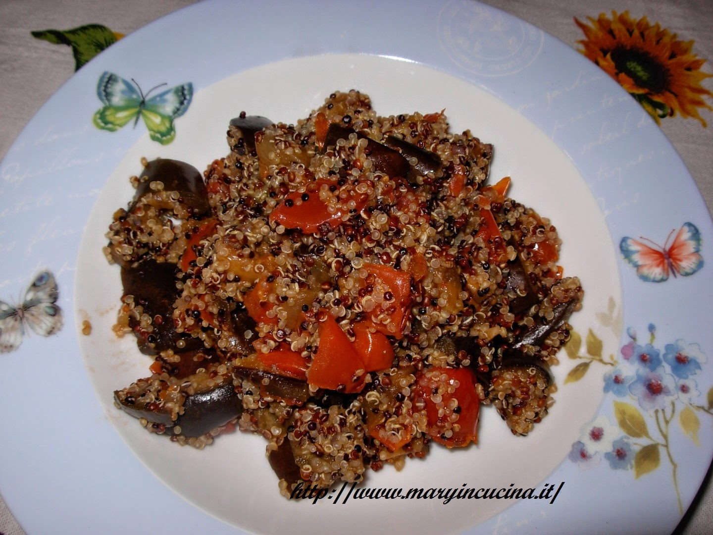 quinoa tricolore con melanzane a funghetti