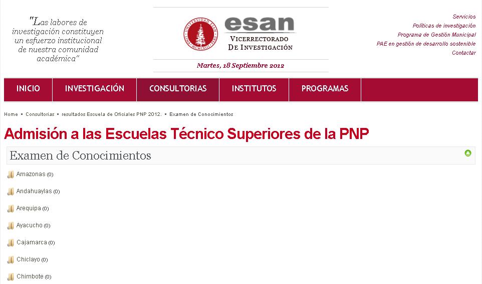 Resultados examen PNP 2012 16 de Setiembre