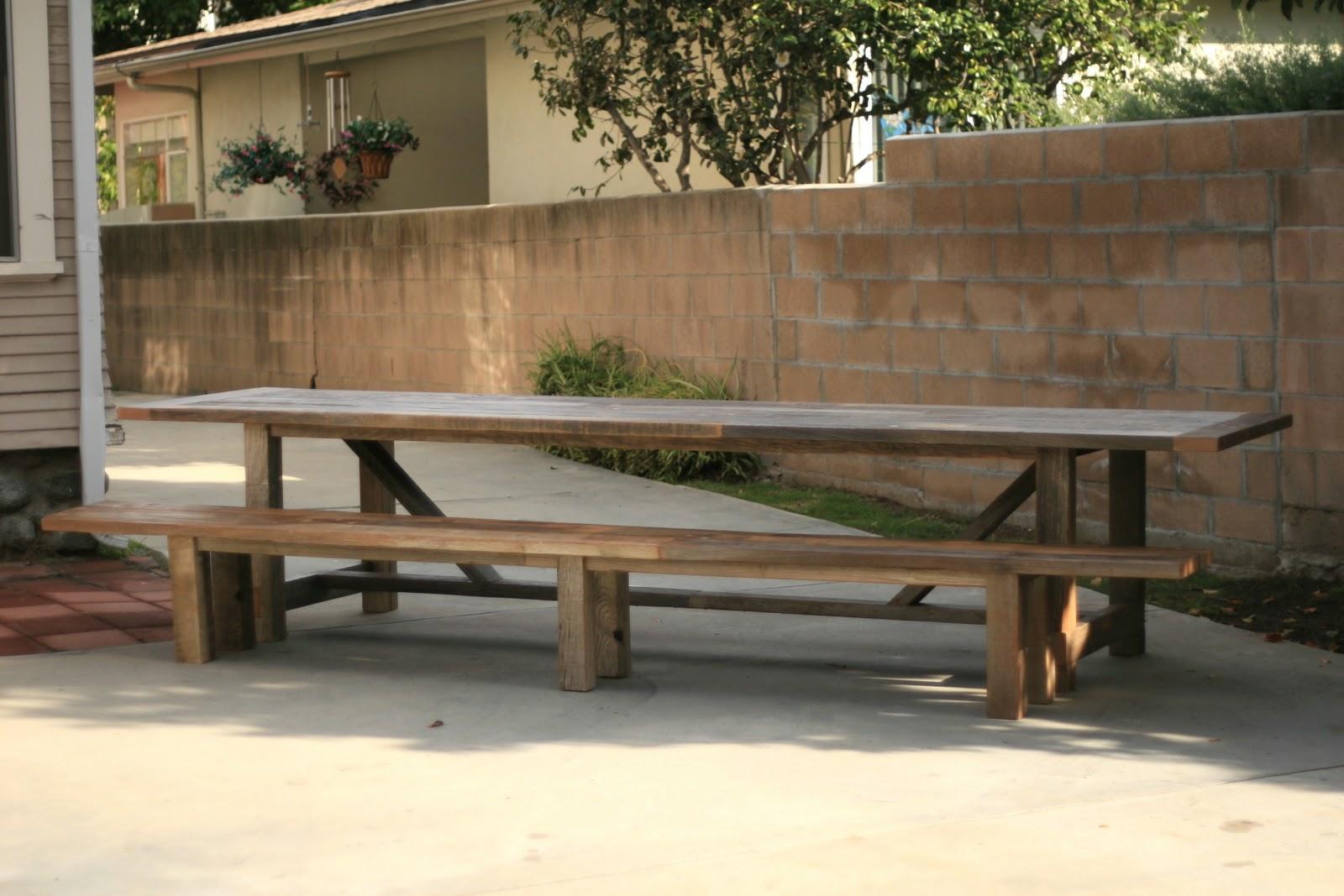 Arbor Exchange | Reclaimed Wood Furniture: 12 Foot Outdoor Trestle Table +  Bench