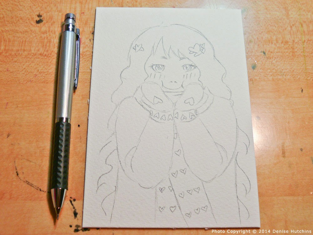 Anime-Style Girl Drawn on Watercolor Paper