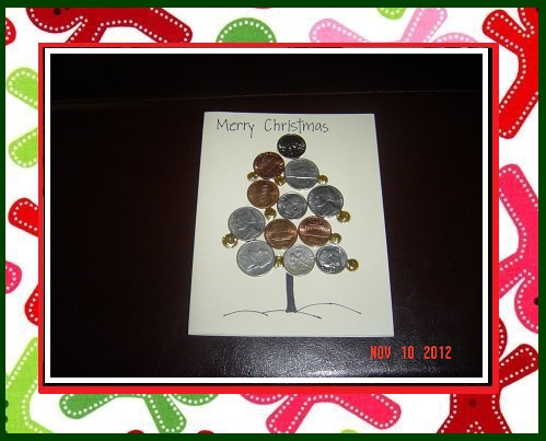 10 Kids craft ideas for Christmas Gallery For Home #2: very easy christmas card kids children toddlers card idea christmas tree kids craft coins t idea holiday coins christmas tree easy diy simple t envelope inspiration