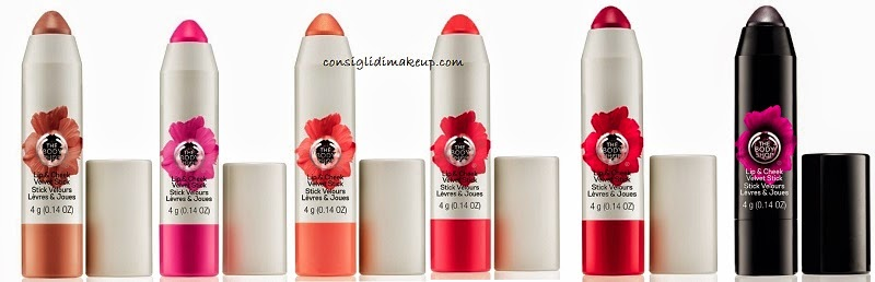 tinte labbra e guance stick smoky poppy the body shop