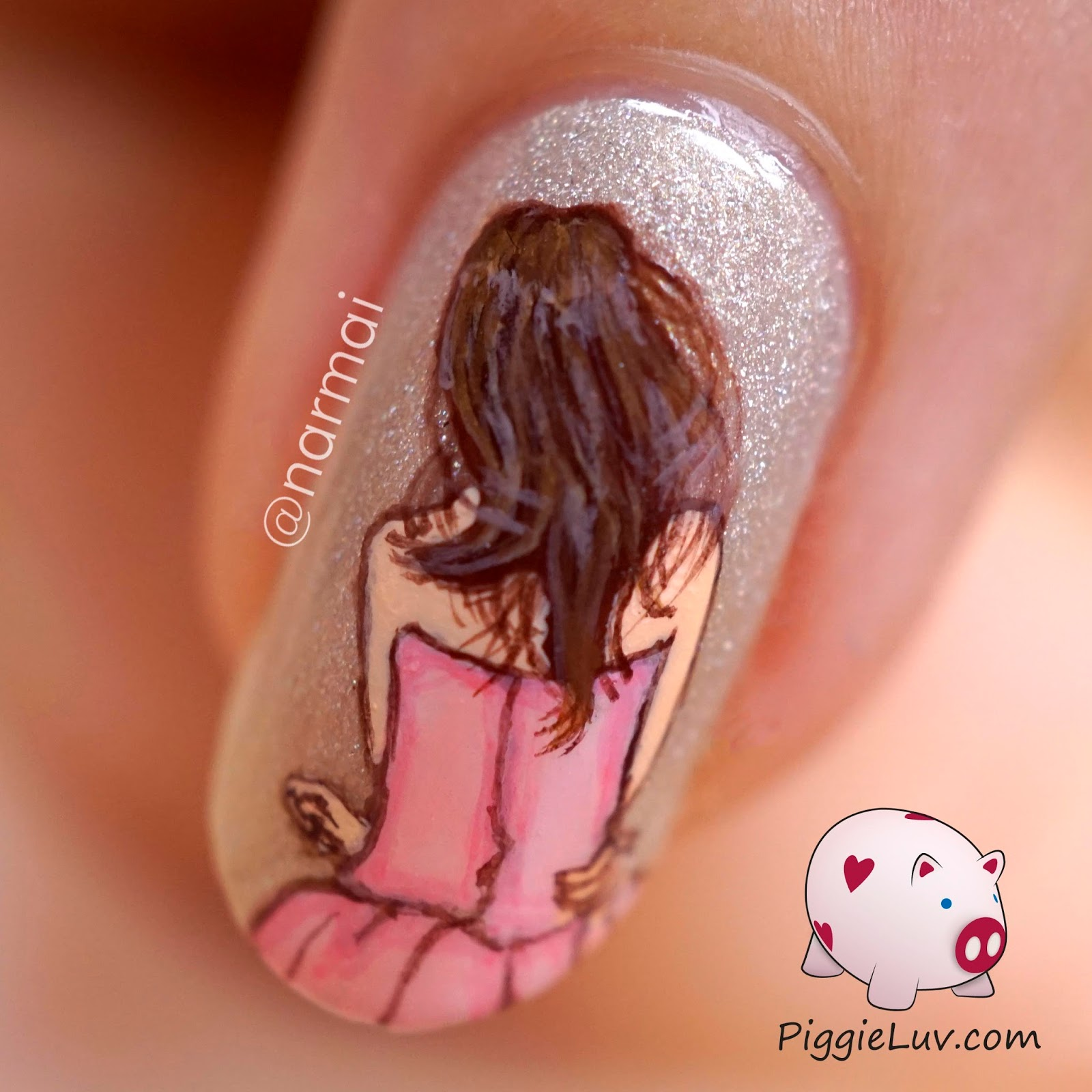 Piggieluv Happy Girls Are The Prettiest Freehand Nail Art