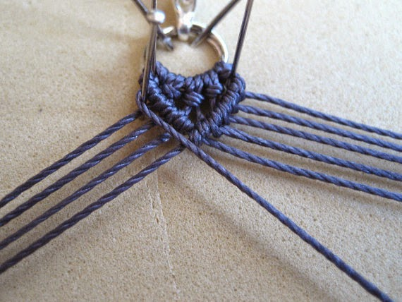 Sample photo from Hydrangeas Micro Macrame Bracelet tutorial by Sherri Stokey.