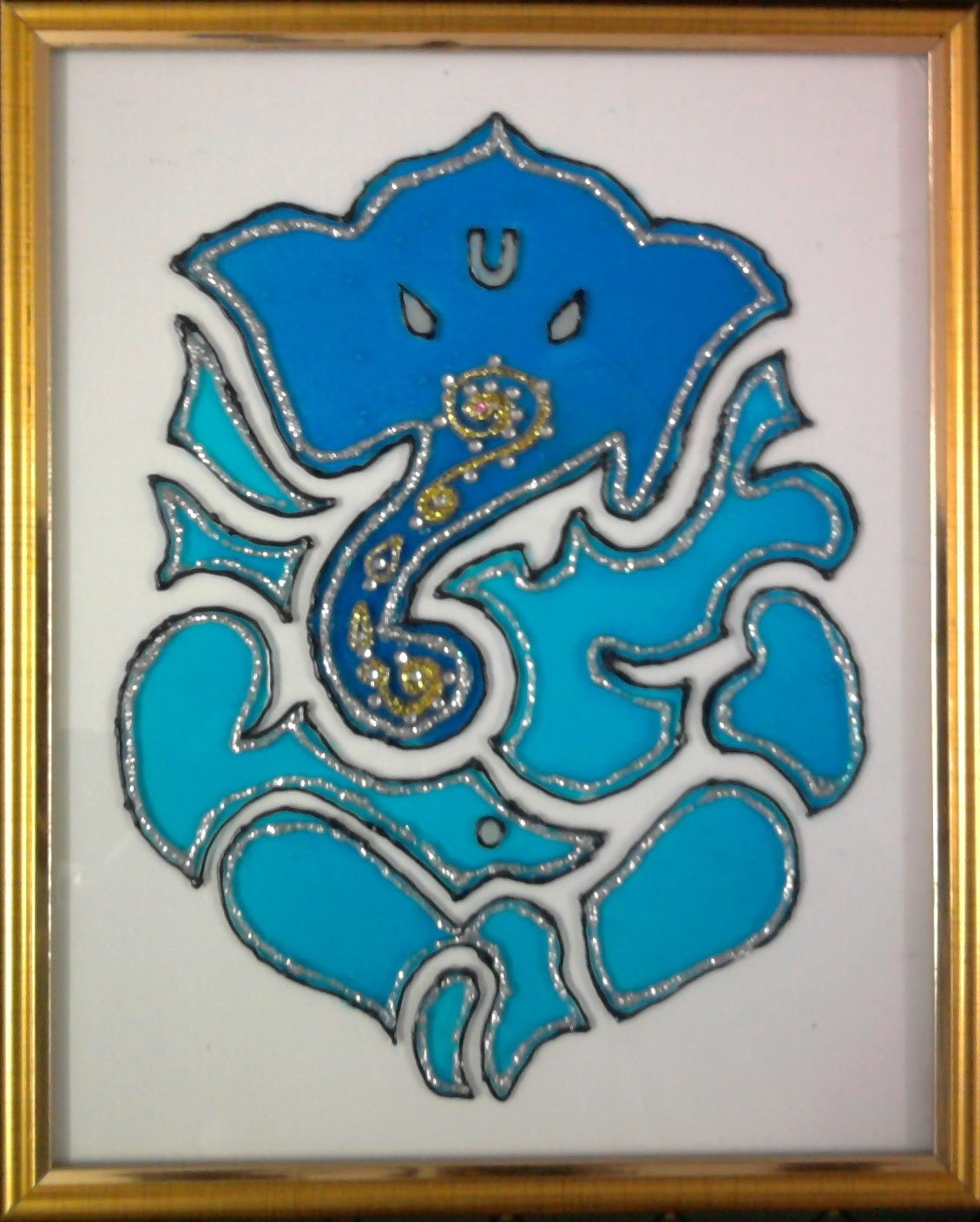 Simple glass painting designs ganesh for Easy glass painting pictures